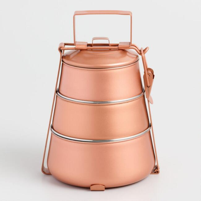 Copper Tapered 3 Tier Tiffin Lunch Boxes Set of 2