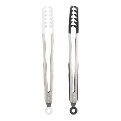 Black and White Silicone Pasta Tongs Set of 2