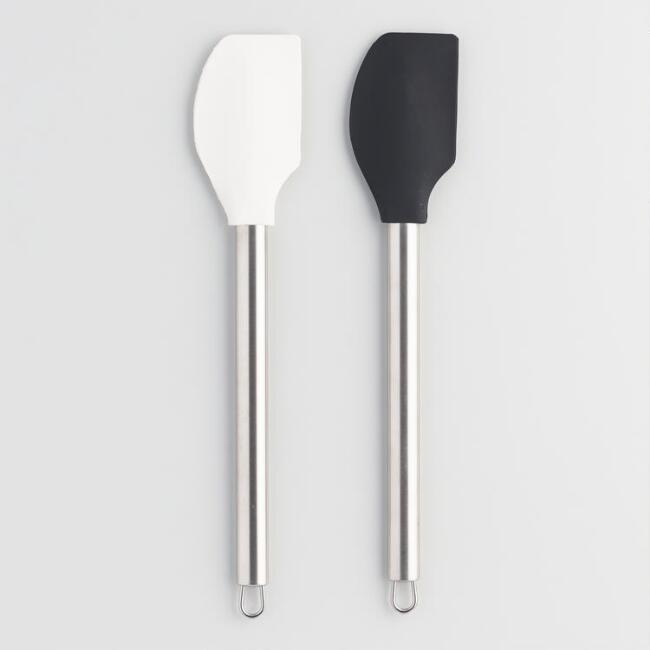 Black and White Silicone Spatulas Set of 2