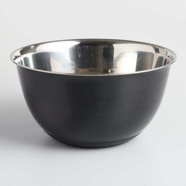 Black 6 Quart Nonslip Stainless Steel Mixing Bowl