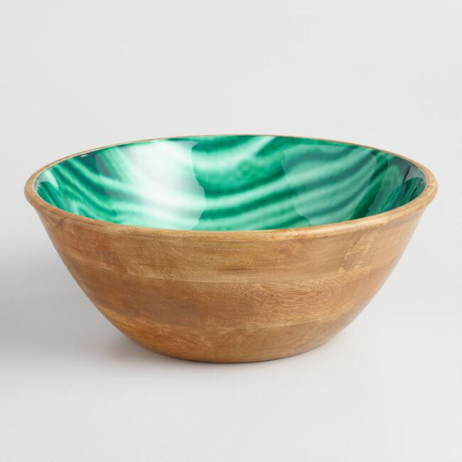 Green Marble Enamel Wood Salad Bowl