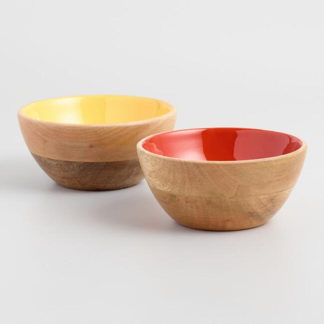 Red and Yellow Enamel Wood Individual Bowls Set of 2