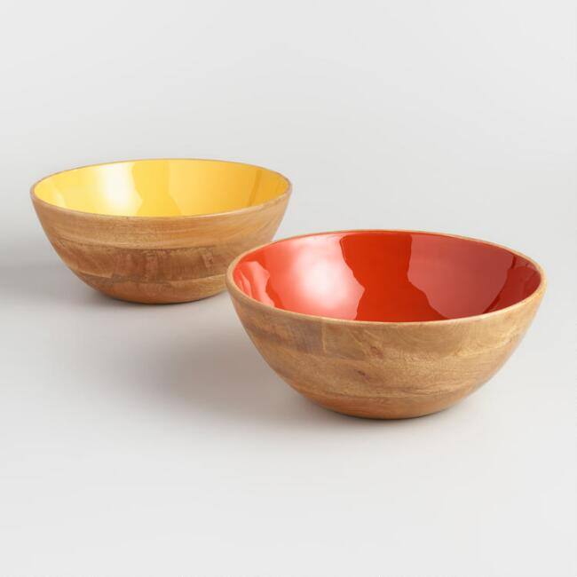 Large Red And Yellow Enamel Wood Bowls Set Of 2