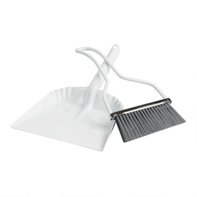 White Metal Smiley Dustpan with Hand Broom