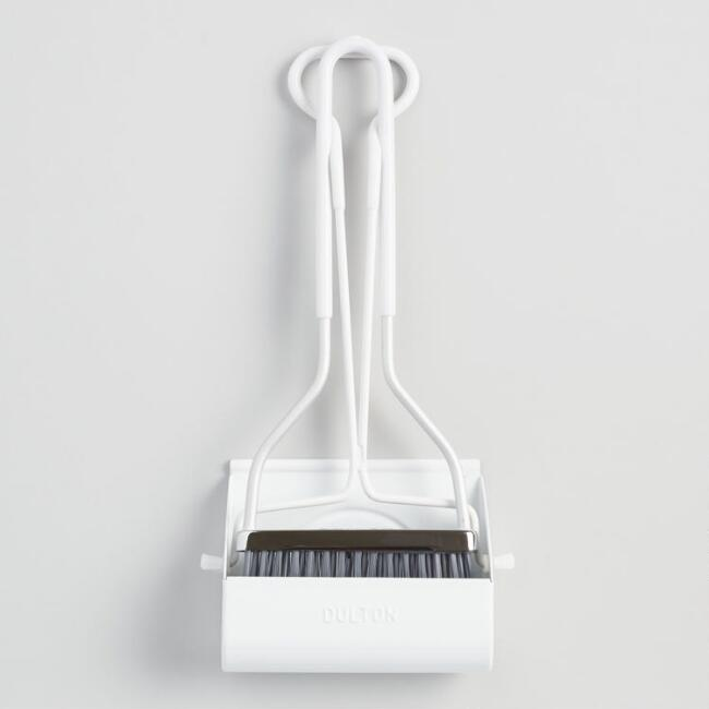 Mini White Smiley Dustpan with Broom