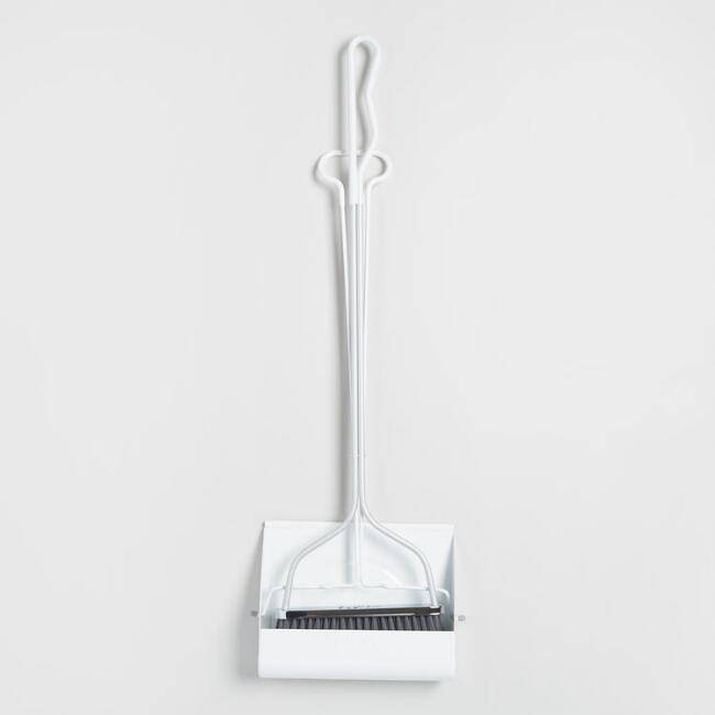 Matte White Upright Smiley Dustpan with Broom