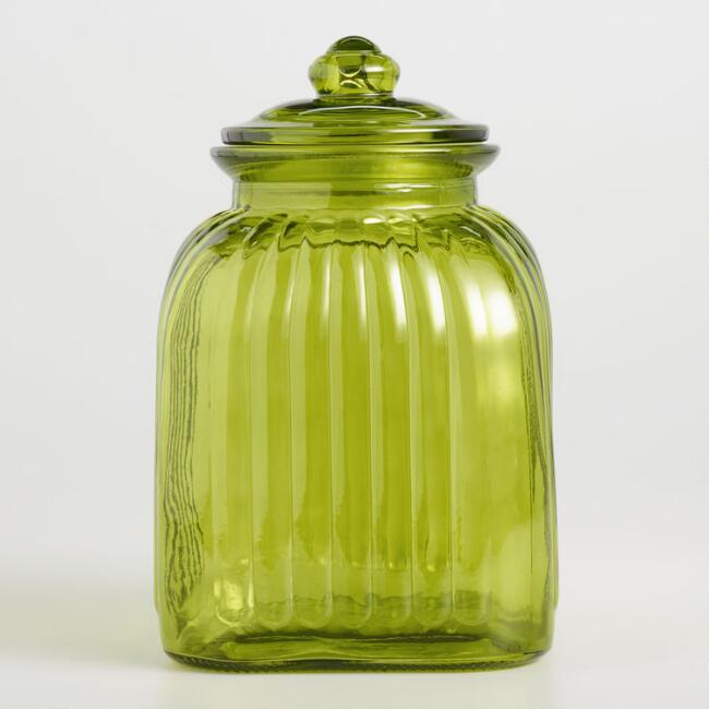 Green Vintage Style Ribbed Glass Storage Canister