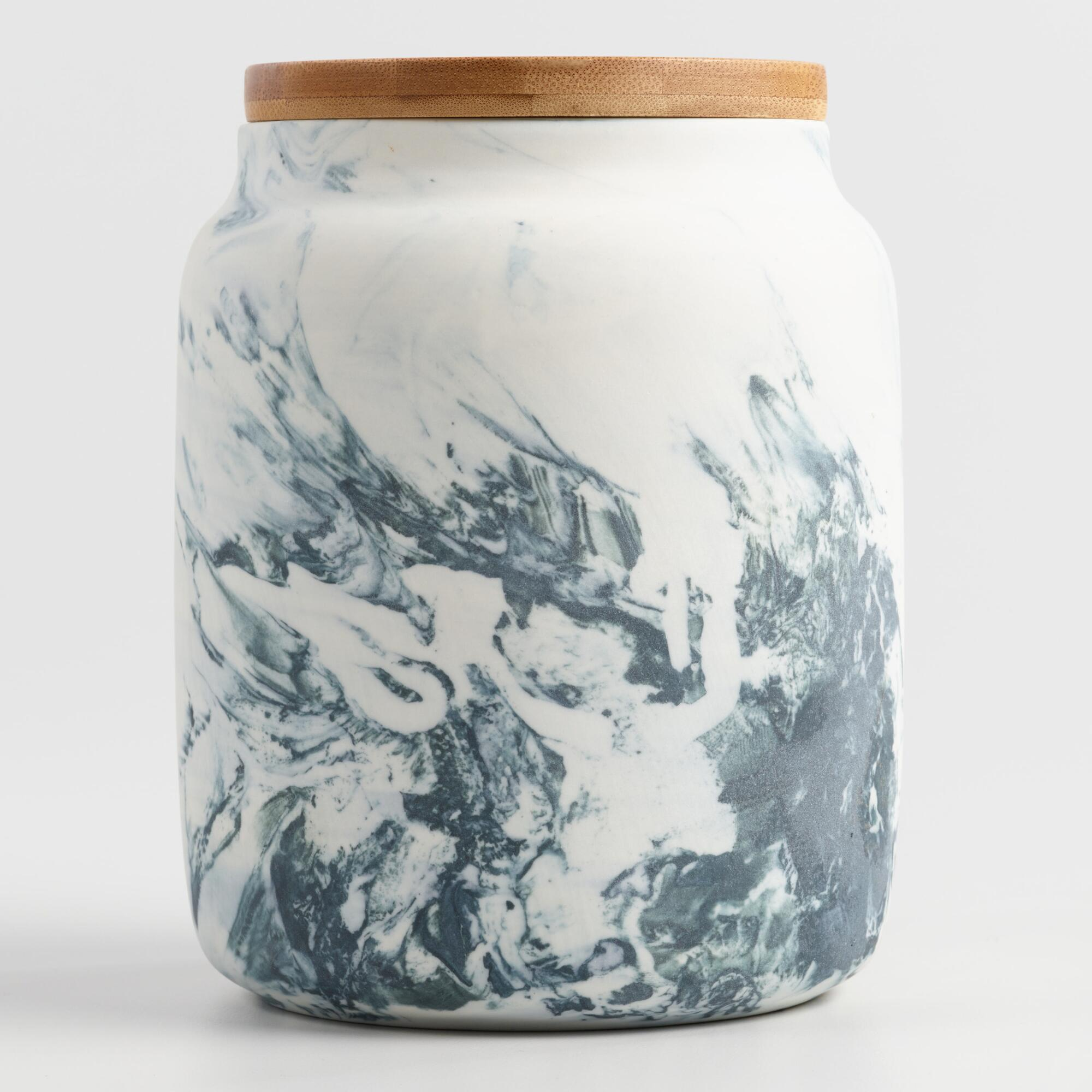 Medium Marble Pattern Ceramic Storage Canister by World Market