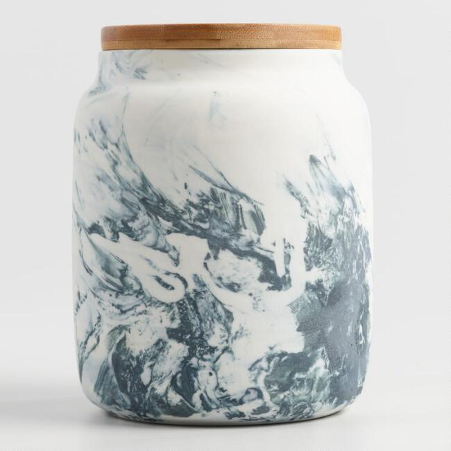 Medium Marble Pattern Ceramic Storage Canister