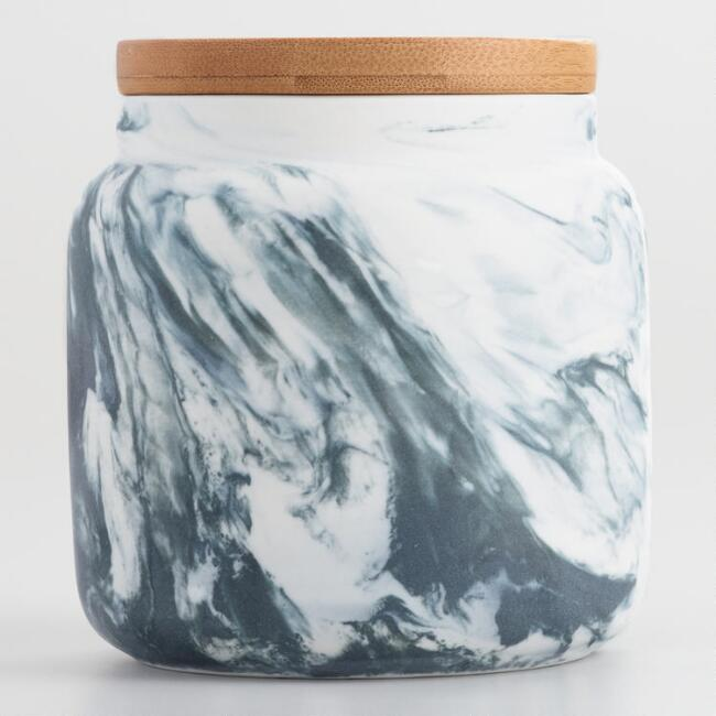 Small Marble Pattern Ceramic Storage Canister