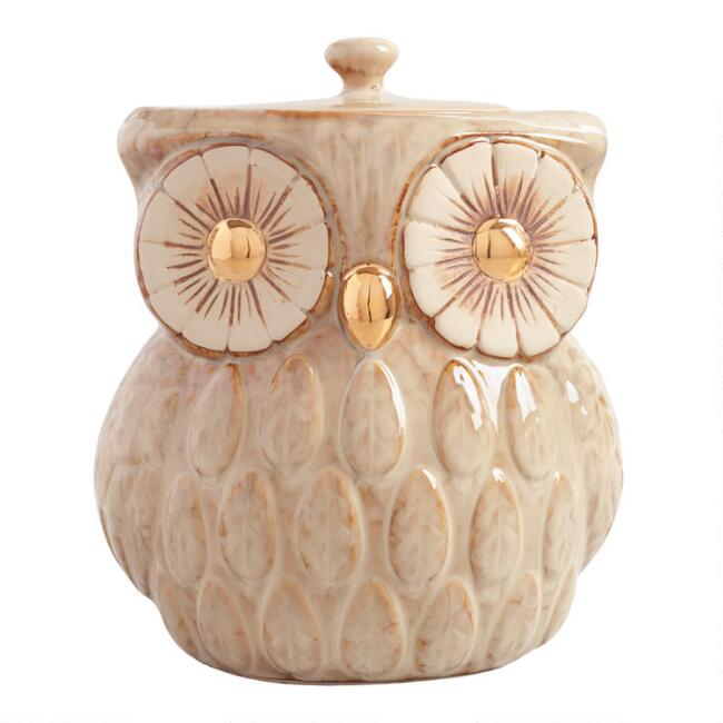 Gold Metallic Reactive Glaze Owl Cookie Jar