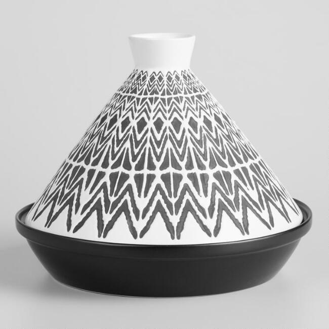 Black and White Geo Terracotta Tagine