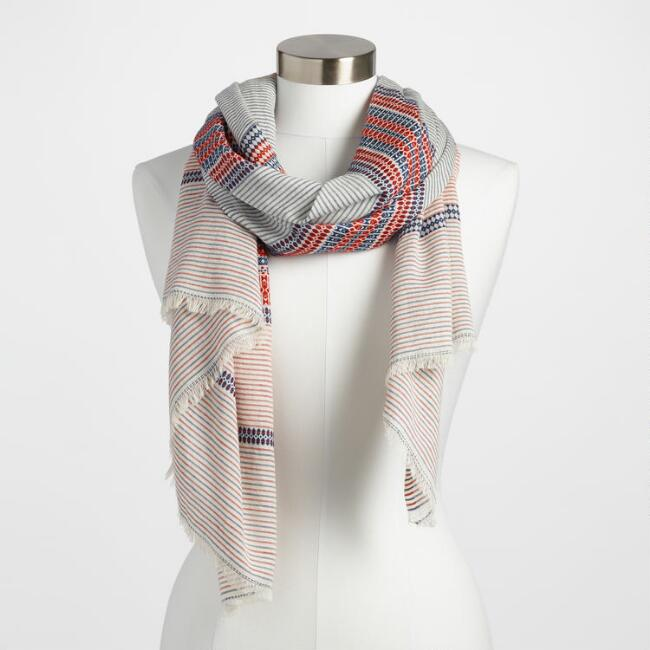 Red, White and Blue Stripe Jacquard Scarf