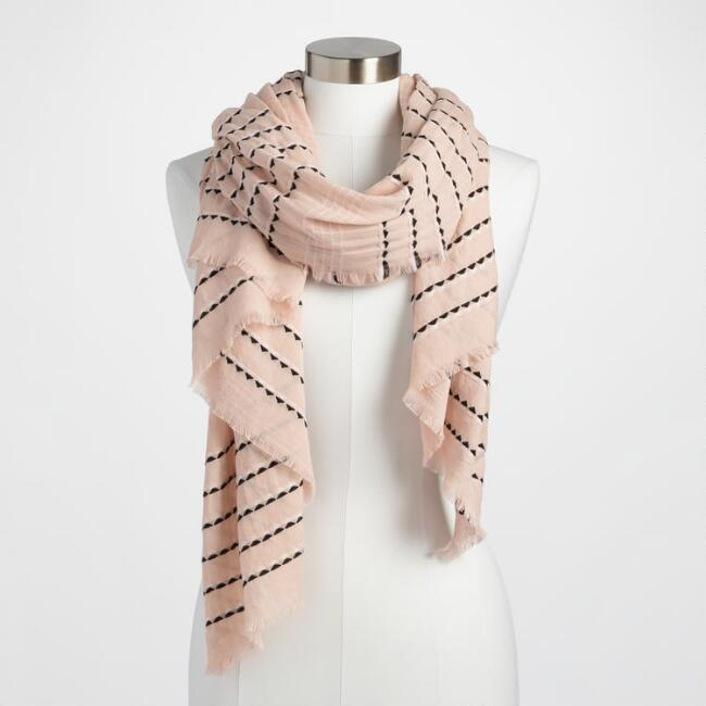 Black and Pink Stripe Scarf