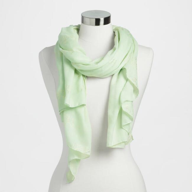 Mint and Gold Foil Elephant Scarf