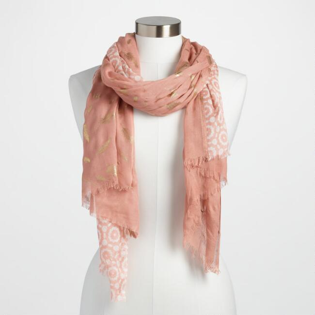 Pink and Gold Foil Print Scarf