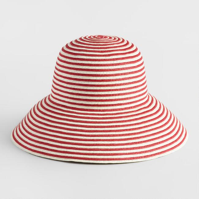 Red and White Stripe Bucket Hat
