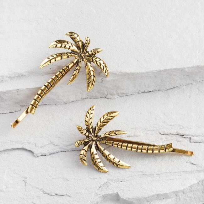Gold Palm Hair Pins Set of 2