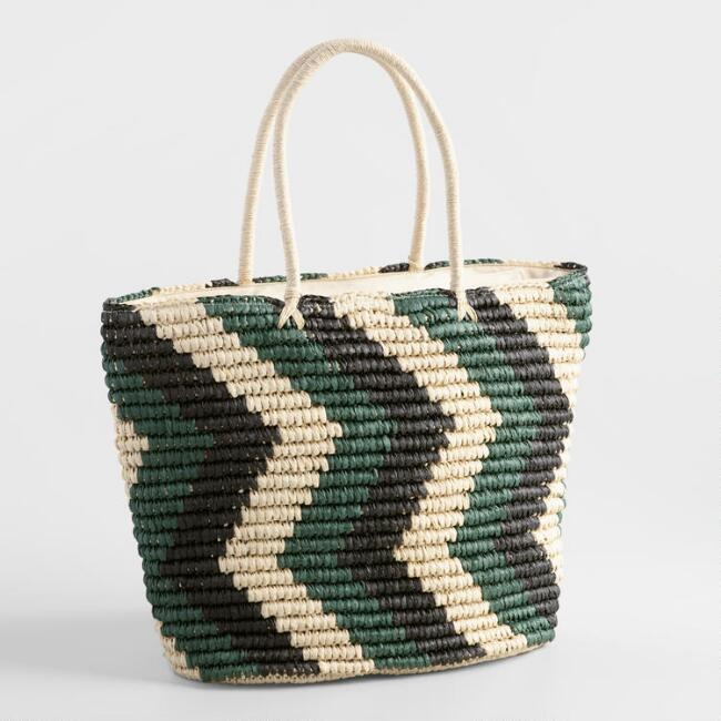 Green and Black Straw Tote