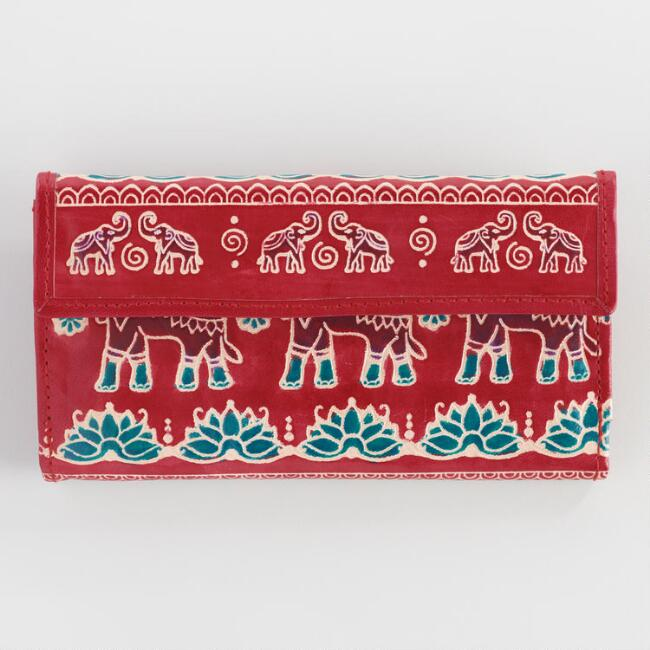 Red Elephant Leather Wallet