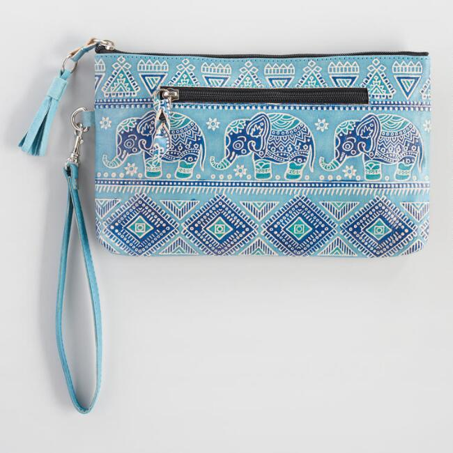 Blue Elephant Leather Clutch