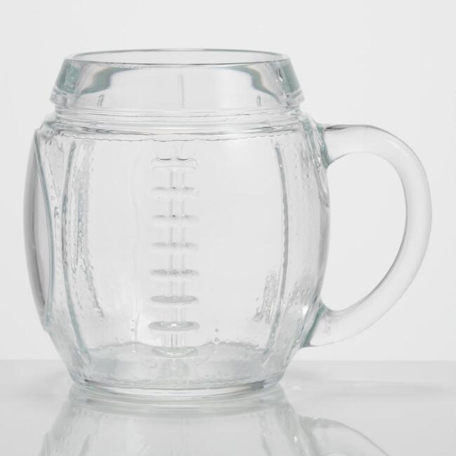 Glass Football Mug