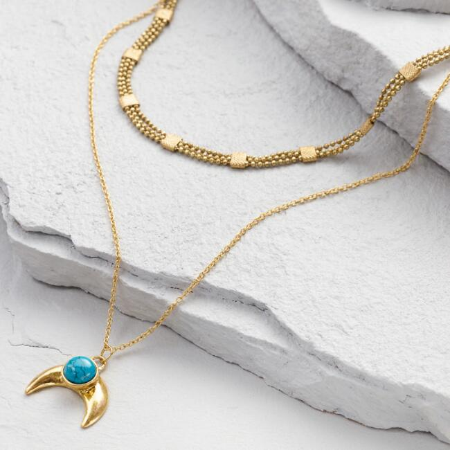Gold and Turquoise Crescent Necklaces Set of 2
