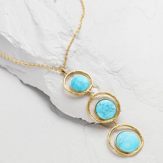 Triple Circle and Turquoise Pendant Necklace