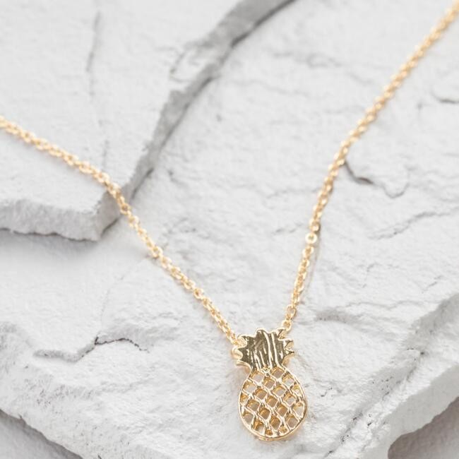 Golden Pineapple Pendant Necklace