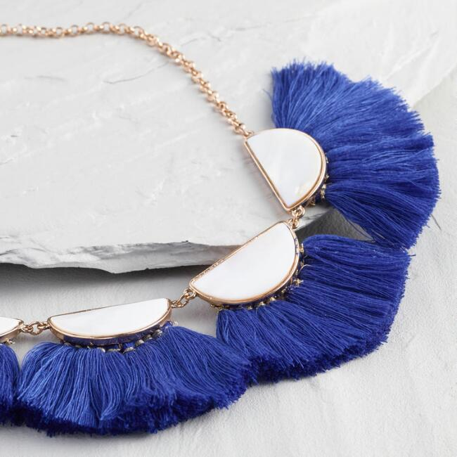 Mother of Pearl and Cobalt Tassels Necklace