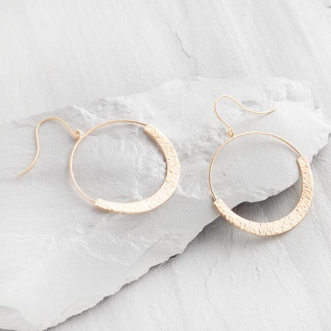 Hammered Gold Front Facing Hoop Earrings