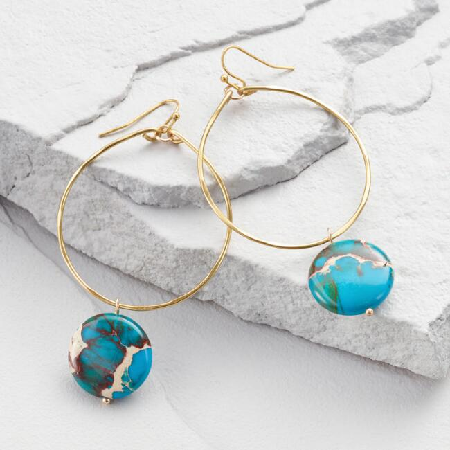 Large Gold and Turquoise Hoop Earrings