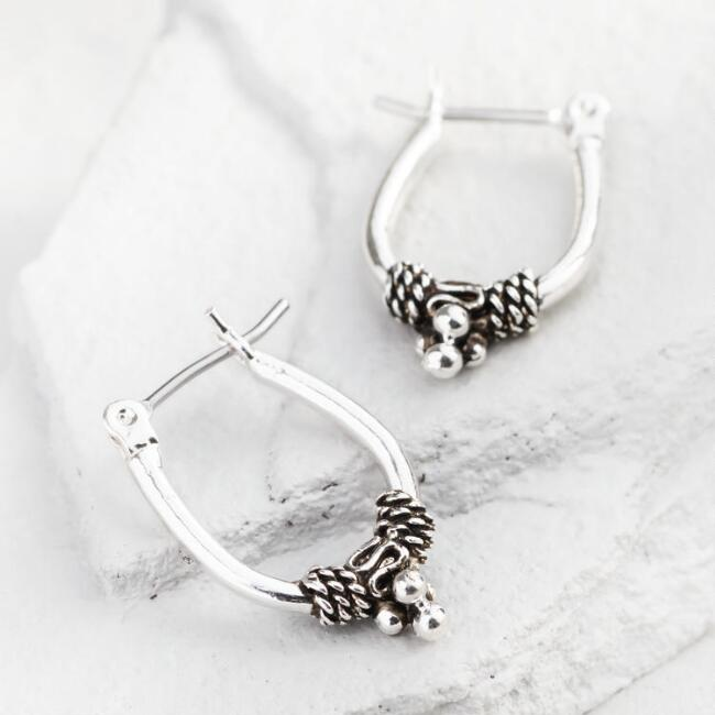 Silver Tribal Hoop Earrings