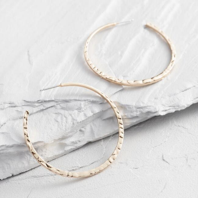 Hammered Gold Stud Hoop Earrings