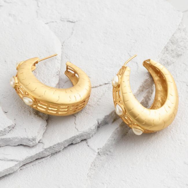 Gold and Pearl Hoop Earrings