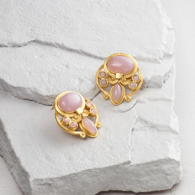 Lavender Stone and Gold Stud Earrings