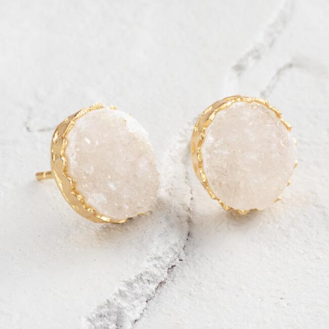 White Druzy Stone Stud Earrings