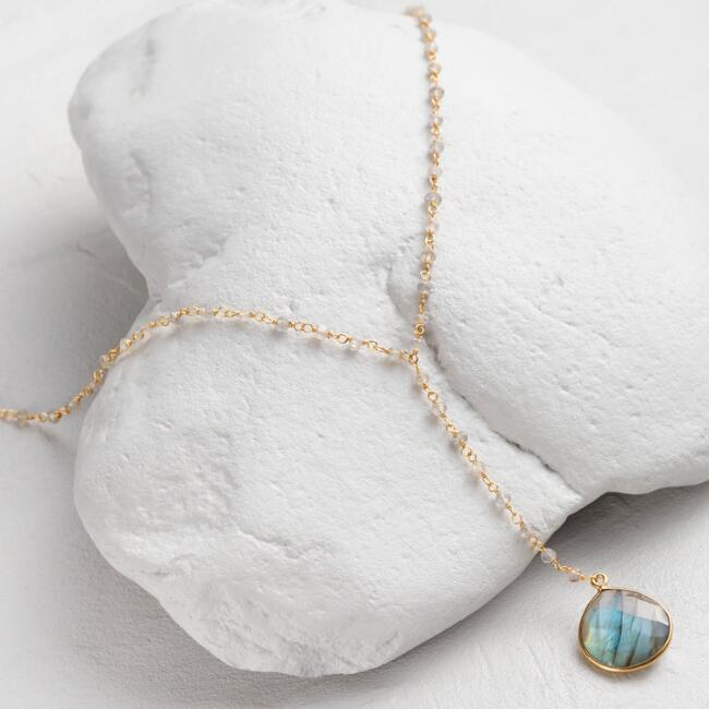 Gold and Labradorite Lariat Necklace
