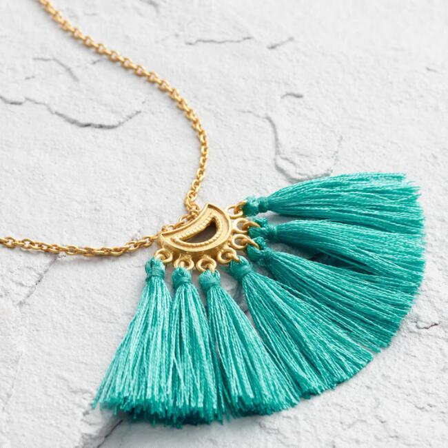 Teal Tassel Statement Necklace