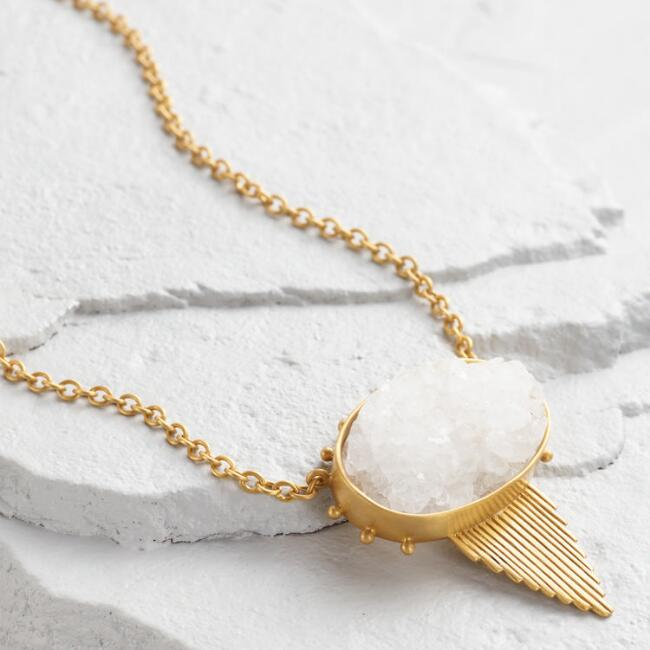 Druzy and Triangle Pendant Necklace