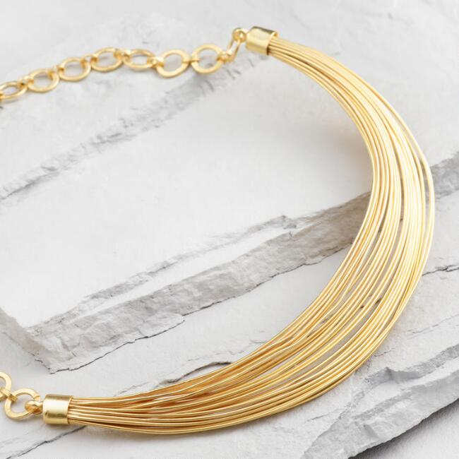 Gold Wire Collar Necklace