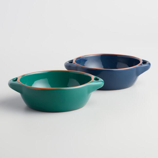 Blue and Green Terracotta Tapas Dishes Set of 2