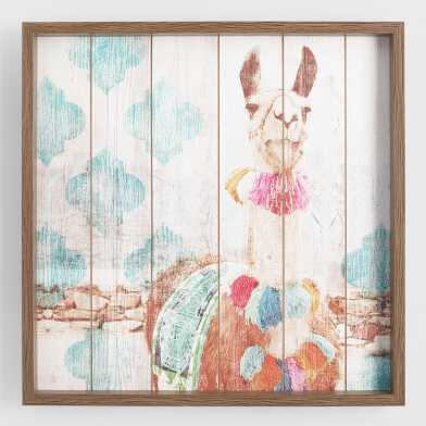 Happy Llama Framed Print on Wood Wall Art