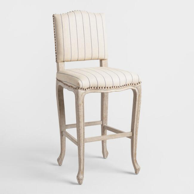 French Stripe Belmond Upholstered Barstool