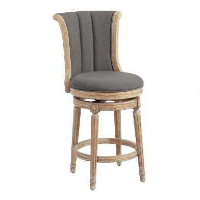 Linen Channel Back Swivel Counter Stool