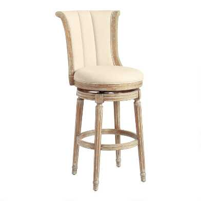 Linen Channel Back Swivel Barstool