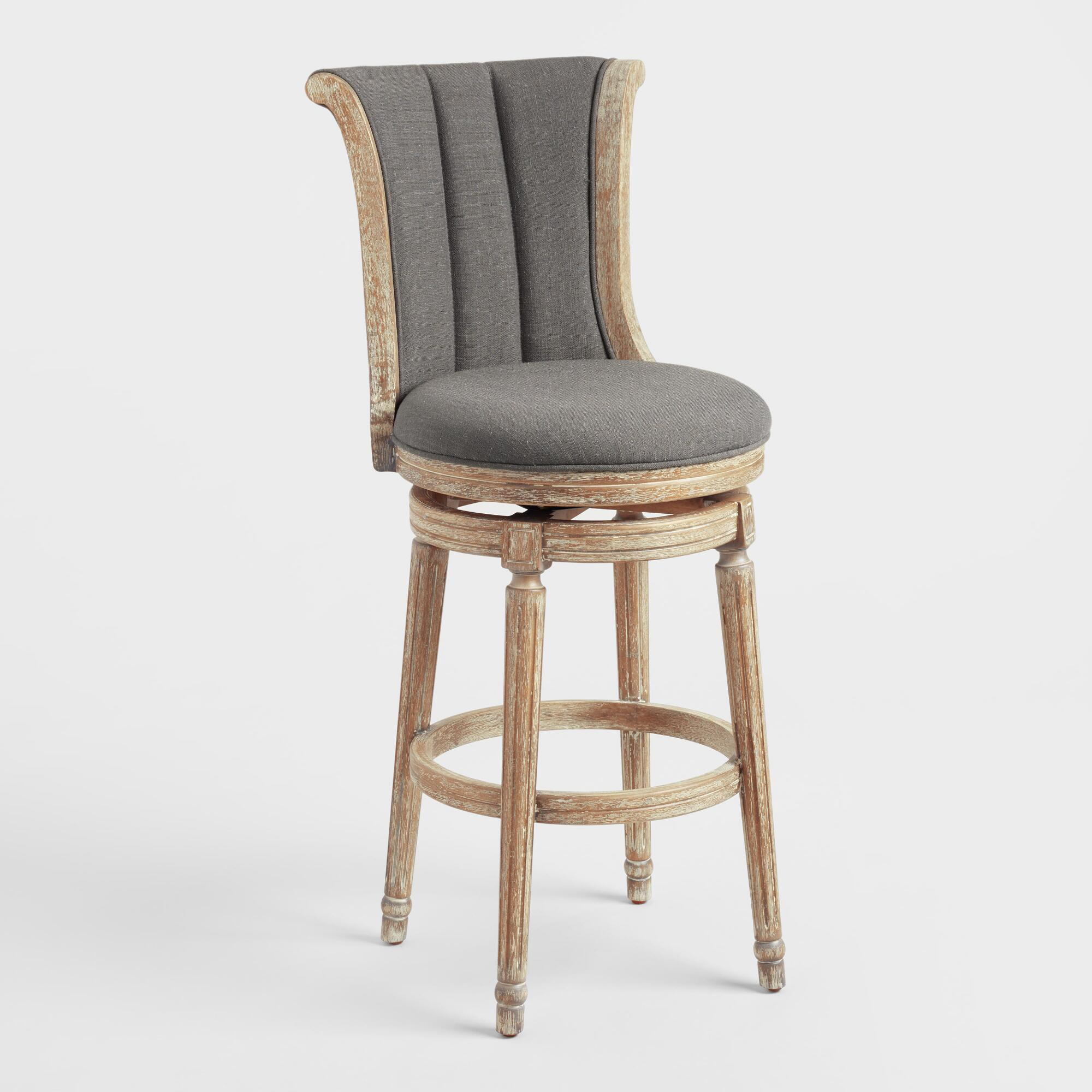 Sku 10014751 Charcoal Linen Channel Back Swivel Barstool Gray By World Market From Cost