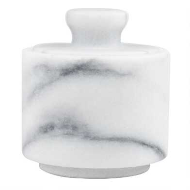 White Marble Salt Cellar with Lid