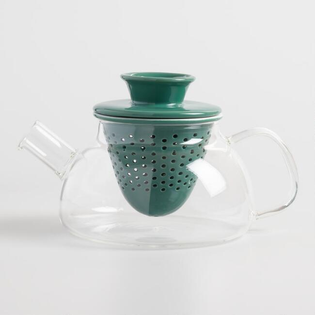 Glass Teapot with Green Porcelain Infuser