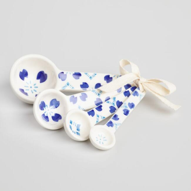 Blue and White Hand Painted Ceramic Measuring Spoon Set